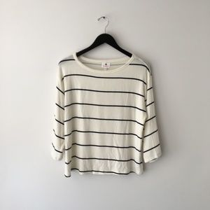 Anthropologie Sundry Cream Striped Sweatshirt